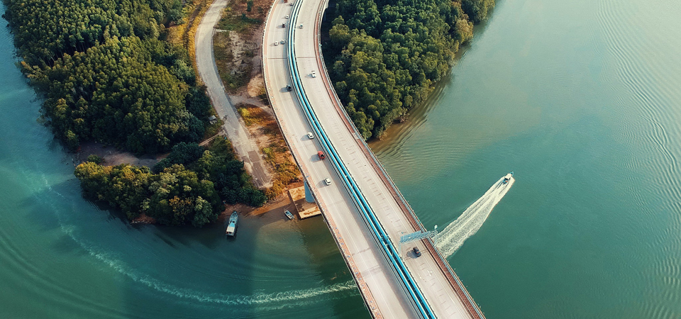 Aerial view of bridge on river